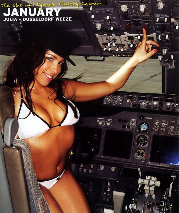 Miss January poses up in the cockpit